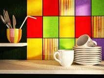 Πιάτα με τα φλυτζάνια στον πίνακα κουζινών διανυσματική απεικόνιση
