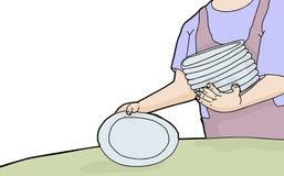 Πιάτα ρύθμισης γυναικών απεικόνιση αποθεμάτων