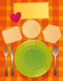 Πιάτα στην επιτραπέζια εξυπηρέτηση Στοκ Εικόνα