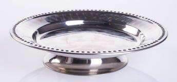 πιάτο ή πιάτο τροφίμων ανοξείδωτου στο υπόβαθρο Στοκ εικόνες με δικαίωμα ελεύθερης χρήσης