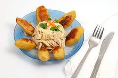 πιάτο ελληνικά κοτόπουλ&om Στοκ Εικόνα