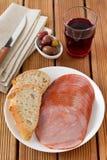 πιάτο ζαμπόν ψωμιού Στοκ φωτογραφία με δικαίωμα ελεύθερης χρήσης