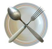 Πιάτο δικράνων κουταλιών που διασχίζεται που απομονώνεται Στοκ φωτογραφία με δικαίωμα ελεύθερης χρήσης