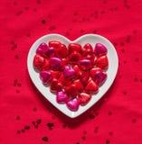 Πιάτο καρδιών βαλεντίνου Στοκ Φωτογραφίες