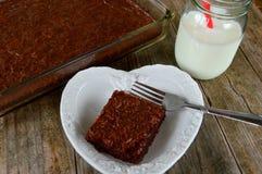 Πιάτο καρδιών Brownies φοντάν Στοκ εικόνες με δικαίωμα ελεύθερης χρήσης