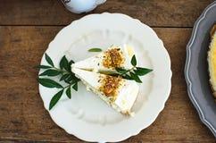 πιάτο κομματιών κέικ Στοκ Εικόνα