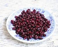 Πιάτο κόκκινα whortleberries στο δέρμα σημύδων Στοκ Φωτογραφία