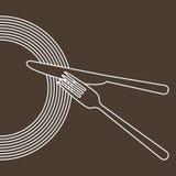 Πιάτο, μαχαίρι και δίκρανο απεικόνιση αποθεμάτων