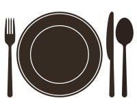 Πιάτο, μαχαίρι, κουτάλι και δίκρανο απεικόνιση αποθεμάτων