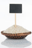 Πιάτο με μια δέσμη των σιταριών ρυζιού και της αντανάκλασης και της τιμής του, δείκτης Στοκ Εικόνες