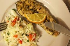 Πιάτο με μια μερίδα των κόκκινων ψαριών Στοκ εικόνες με δικαίωμα ελεύθερης χρήσης