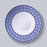 Πιάτο με την μπλε διακόσμηση στην άκρη Σχέδιο προτύπων στην εθνική ζωγραφική πορσελάνης Gzhel ύφους ελεύθερη απεικόνιση δικαιώματος