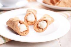 Πιάτο με τη ζύμη cannoli Στοκ εικόνες με δικαίωμα ελεύθερης χρήσης