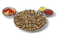 Πιάτο με τις μαροκινές τηγανισμένες γεμισμένες σαρδέλλες Στοκ Εικόνες
