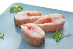 Πιάτο με τις φρέσκες μπριζόλες ψαριών στο υπόβαθρο Στοκ εικόνα με δικαίωμα ελεύθερης χρήσης