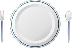 Πιάτο με το δίκρανο και το κουτάλι Στοκ εικόνα με δικαίωμα ελεύθερης χρήσης