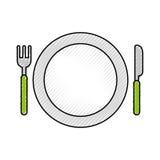 Πιάτο με το δίκρανο και το μαχαίρι διανυσματική απεικόνιση
