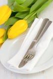 Πιάτο με το δίκρανο, μαχαίρι, πετσέτα Στοκ Εικόνα