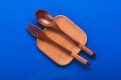 Πιάτο με το κουτάλι και το δίκρανο Στοκ Φωτογραφίες