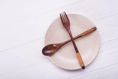 Πιάτο με το κουτάλι και το δίκρανο Στοκ Εικόνα
