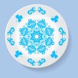 Πιάτο με το φυλετικό mandala διακοσμήσεων κομψότητας επίσης corel σύρετε το διάνυσμα απεικόνισης Στοκ Εικόνες