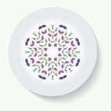 Πιάτο με το φυλετικό mandala διακοσμήσεων κομψότητας επίσης corel σύρετε το διάνυσμα απεικόνισης Στοκ φωτογραφία με δικαίωμα ελεύθερης χρήσης