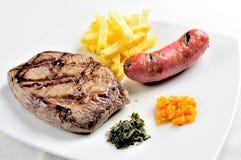 Πιάτο με το ψημένο στη σχάρα κρέας Κρέας, chorizo, τηγανιτές πατάτες που συνοδεύονται από τη σάλτσα chimichurri στοκ φωτογραφίες