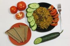 Πιάτο με το plov στο άσπρο υπόβαθρο Στοκ εικόνες με δικαίωμα ελεύθερης χρήσης