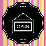 Πιάτο πληροφοριών με το ανοικτό σημάδι, κρεμώντας εικονίδιο πινάκων Στοκ Φωτογραφίες