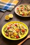 Πιάτο ρυζιού με Mincemeat και τα λαχανικά Στοκ Εικόνα