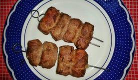 Πιάτο ρόλων κρέατος Στοκ εικόνες με δικαίωμα ελεύθερης χρήσης
