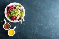 Πιάτο σαλάτας φρέσκων λαχανικών των ντοματών, του ιταλικού μίγματος, του πιπεριού, του ραδικιού, των πράσινων νεαρών βλαστών και  Στοκ εικόνα με δικαίωμα ελεύθερης χρήσης