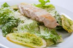 Πιάτο σαλάτας Caesar με το ψωμί τυριών και σκόρδου στοκ φωτογραφία με δικαίωμα ελεύθερης χρήσης