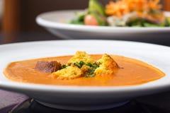 Πιάτο σούπας ντοματών Στοκ Εικόνες