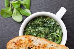 Πιάτο σπανακιού σκόρδου Sauteed, ψημένη φέτα ψωμιού με λειωμένος che Στοκ Εικόνες