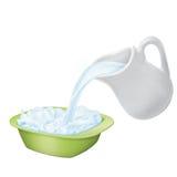πιάτο σταμνών γάλακτος Στοκ Φωτογραφίες