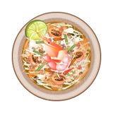 Πιάτο της πράσινης Papaya σαλάτας με τις γαρίδες Στοκ Φωτογραφίες