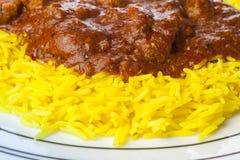 Πιάτο του κάρρυ jalfrezi αρνιών και του ρυζιού pilau Στοκ Εικόνα