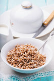Πιάτο του κουάκερ φαγόπυρου με το γάλα Στοκ Φωτογραφίες