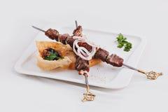 Πιάτο του κρέατος, shish kebab Στοκ εικόνα με δικαίωμα ελεύθερης χρήσης