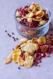 Πιάτο του σπιτικού muesli με τα δημητριακά, πάγωμα - ξηρά φράουλα, ξύλα καρυδιάς, σφαίρες σοκολάτας, σπόροι κολοκύθας Στοκ φωτογραφία με δικαίωμα ελεύθερης χρήσης