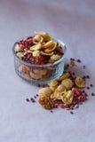 Πιάτο του σπιτικού muesli με τα δημητριακά, πάγωμα - ξηρά φράουλα, ξύλα καρυδιάς, σφαίρες σοκολάτας, σπόροι κολοκύθας Στοκ φωτογραφίες με δικαίωμα ελεύθερης χρήσης