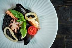 Πιάτο του risotto με το μελάνι καλαμαριών στο γκρίζο πιάτο jpg Στοκ φωτογραφία με δικαίωμα ελεύθερης χρήσης