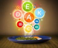 Πιάτο τροφίμων με το εύγευστο γεύμα και τα υγιή σύμβολα βιταμινών Στοκ εικόνα με δικαίωμα ελεύθερης χρήσης