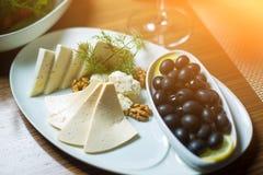 Πιάτο τυριών με τα καρύδια, τα χορτάρια και τις μαύρες ελιές στον πίνακα Στοκ Εικόνες
