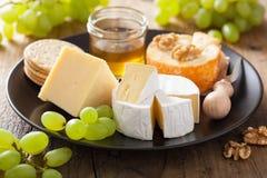 Πιάτο τυριών με camembert, το τυρί Cheddar, τα σταφύλια και το μέλι Στοκ φωτογραφίες με δικαίωμα ελεύθερης χρήσης