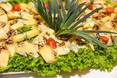 Πιάτο τυριών που εξυπηρετείται στον πίνακα στοκ εικόνα