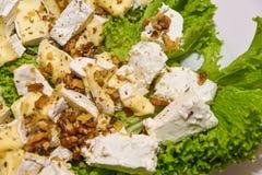 Πιάτο τυριών που εξυπηρετείται στον πίνακα στοκ φωτογραφίες