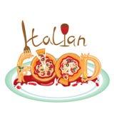 Πιάτο των εύγευστων ιταλικών τροφίμων, της πίτσας και των μακαρονιών Στοκ Εικόνες