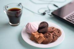Πιάτο των μπισκότων με το φοντάν και marshmallow σοκολάτας σε ένα backg Στοκ Εικόνες